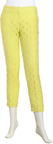 Isaac Mizrahi Eyelet Cropped Pants in Yellow (citron)
