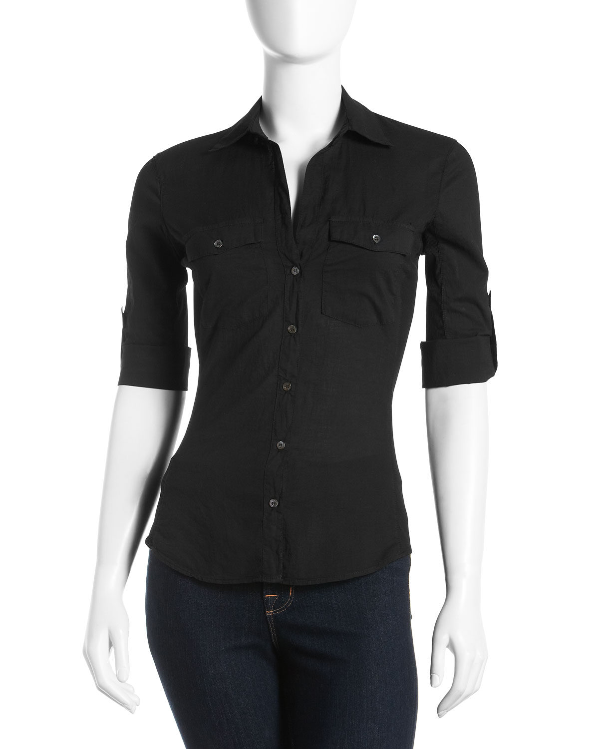 James Perse Button Down Blouse In Black Lyst