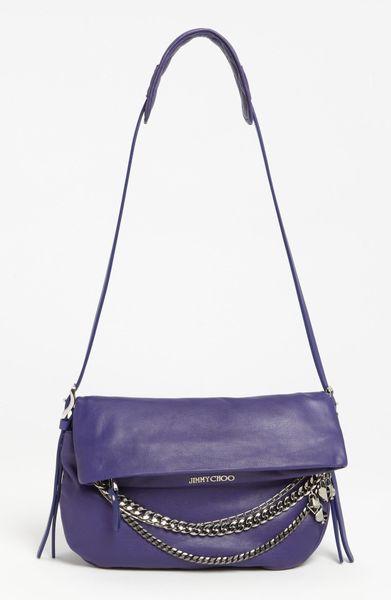 Jimmy Choo Biker Small Leather Crossbody Bag in Purple ...