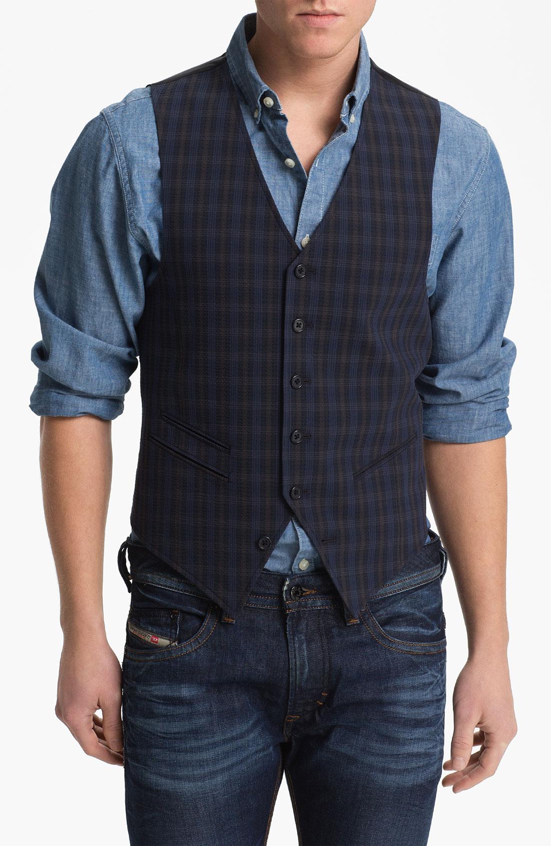 John Varvatos Plaid Vest In Blue For Men Lyst