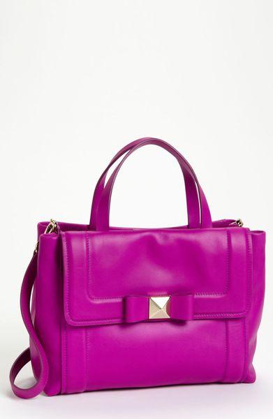 Kate spade bow terrace bradshaw satchel in purple baja rose lyst