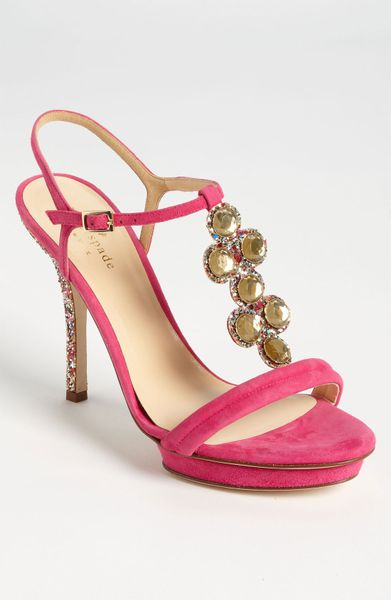 kate spade velvet sandal in pink pink suede multi