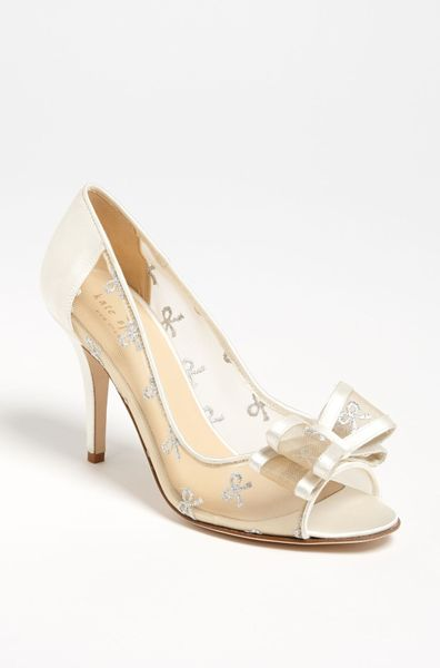 Kate spade calina pump in silver silver bow mesh lyst