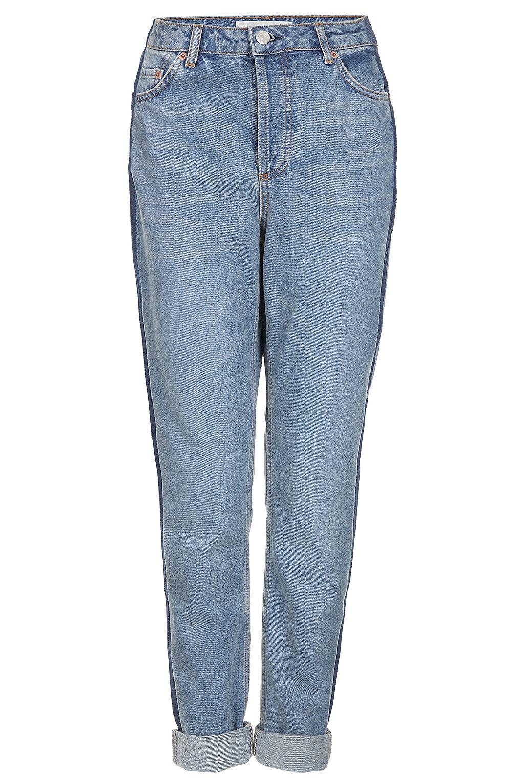 topshop contrast stripe mom jeans in blue lyst. Black Bedroom Furniture Sets. Home Design Ideas