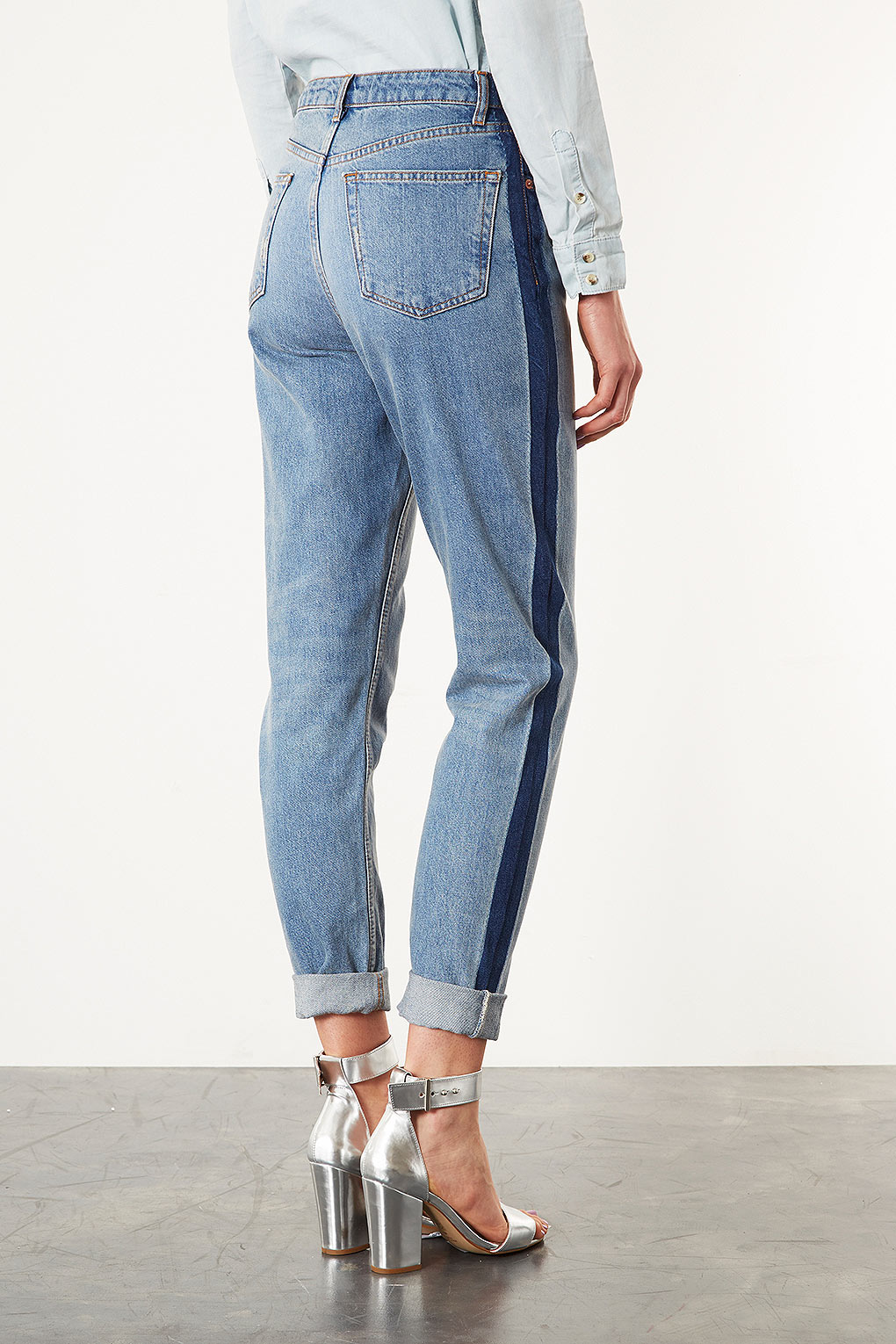 contrast stripe distressed jeans - Blue Mother GLkCzBNoN
