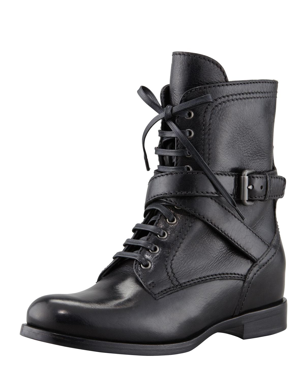 e78870c905f Lyst - Prada Laceup Hidden Wedge Combat Boot in Black