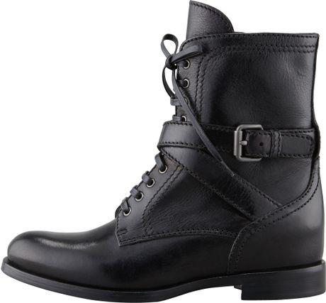 prada laceup wedge combat boot in black lyst