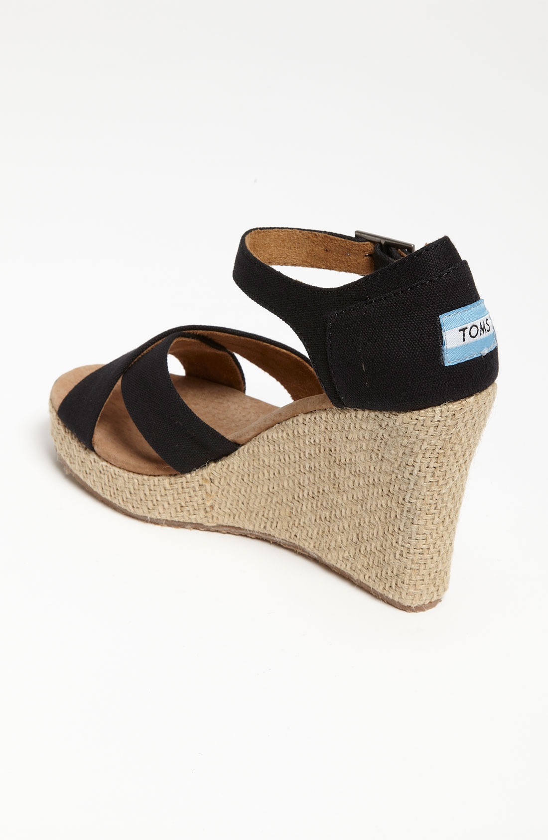 toms canvas wedge sandal in black lyst
