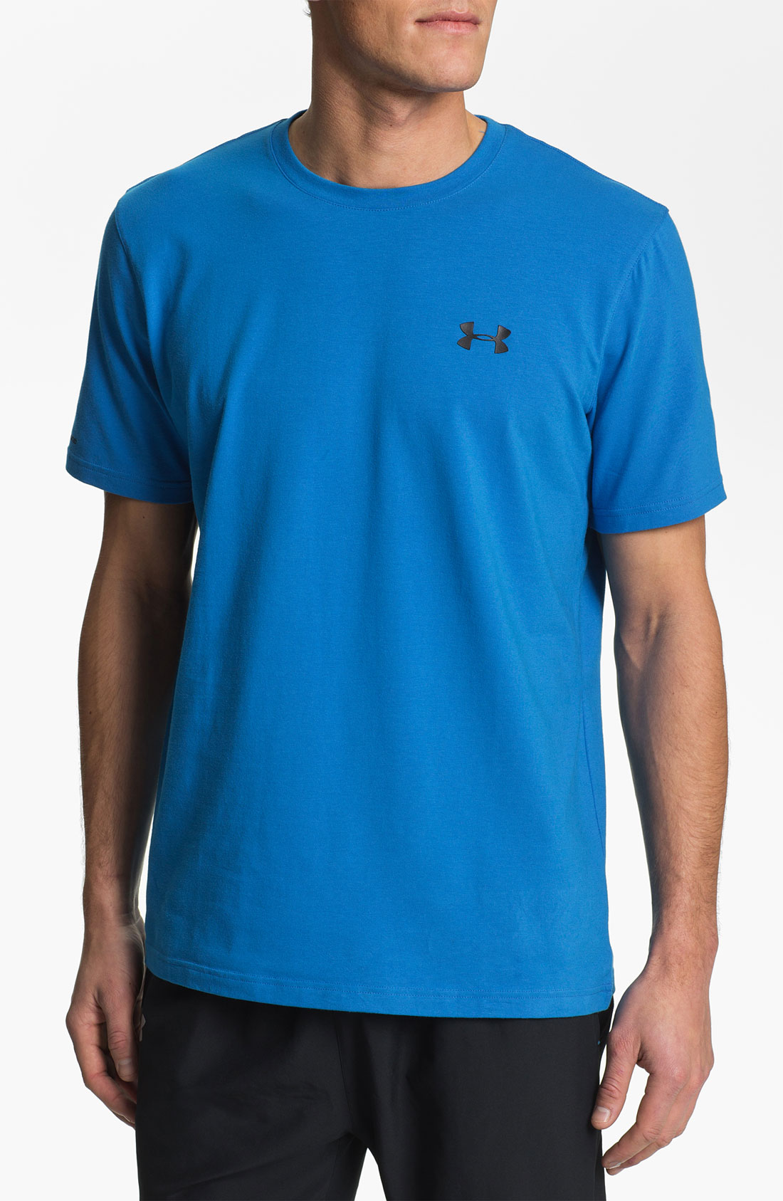Under armour charged cotton t shirt in blue for men for Under armour charged cotton shirts mens
