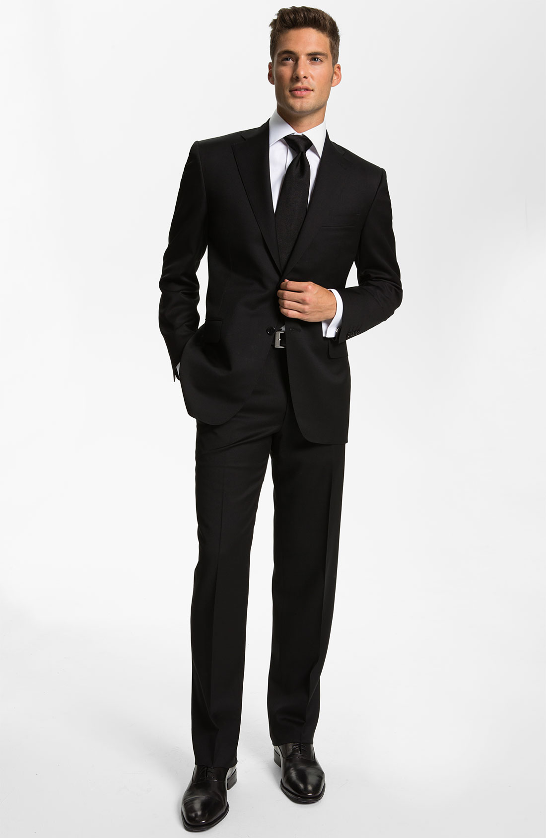 Canali Wool Suit Free Next Day Shipping in Black for Men ...