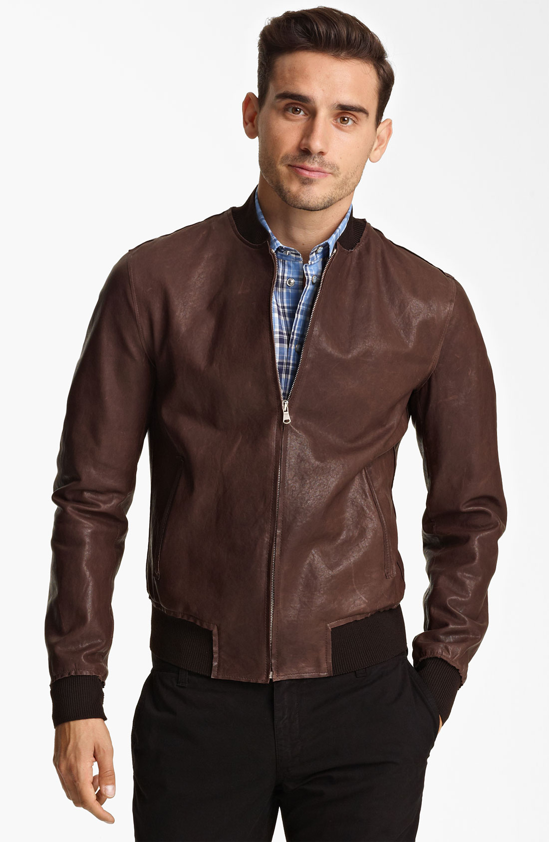 Dolce & gabbana Leather Bomber Jacket in Brown for Men | Lyst