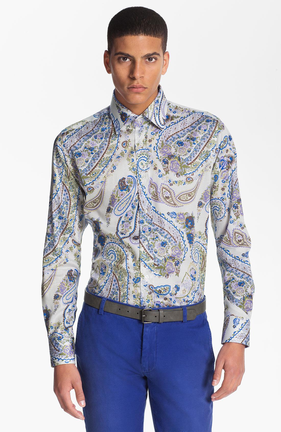 Etro brocade print shirt in white for men black lyst for Etro men s shirts