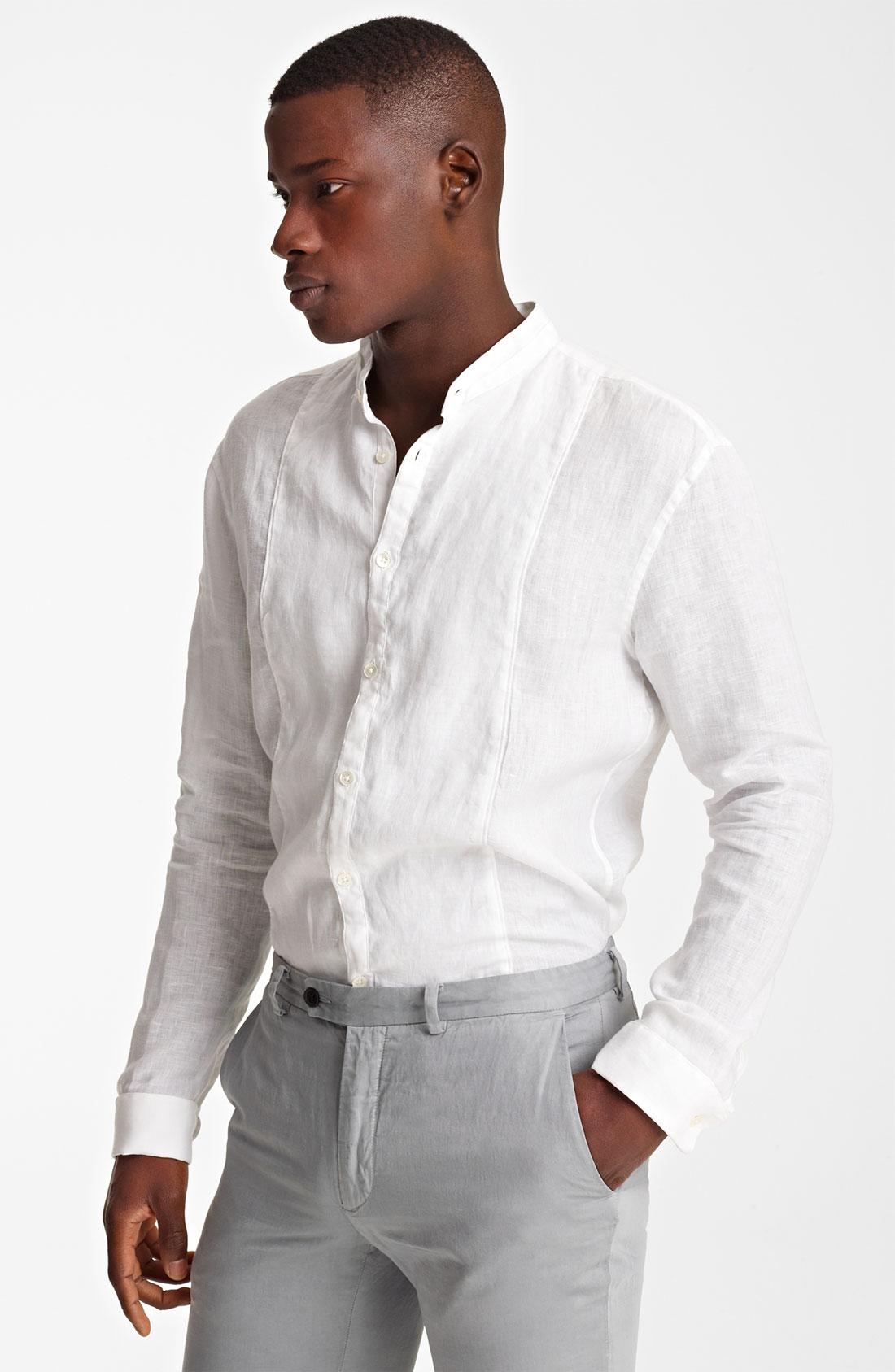 John Varvatos Mandarin Collar Linen Shirt In White For Men