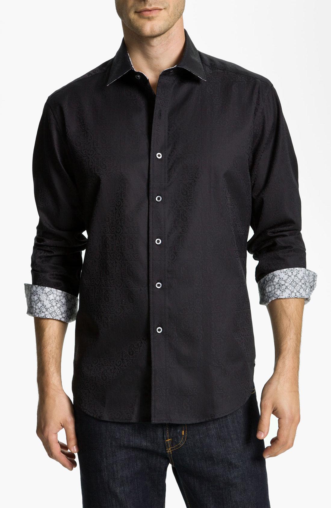 Robert graham windsor sport shirt in black for men lyst for Robert graham sport shirt