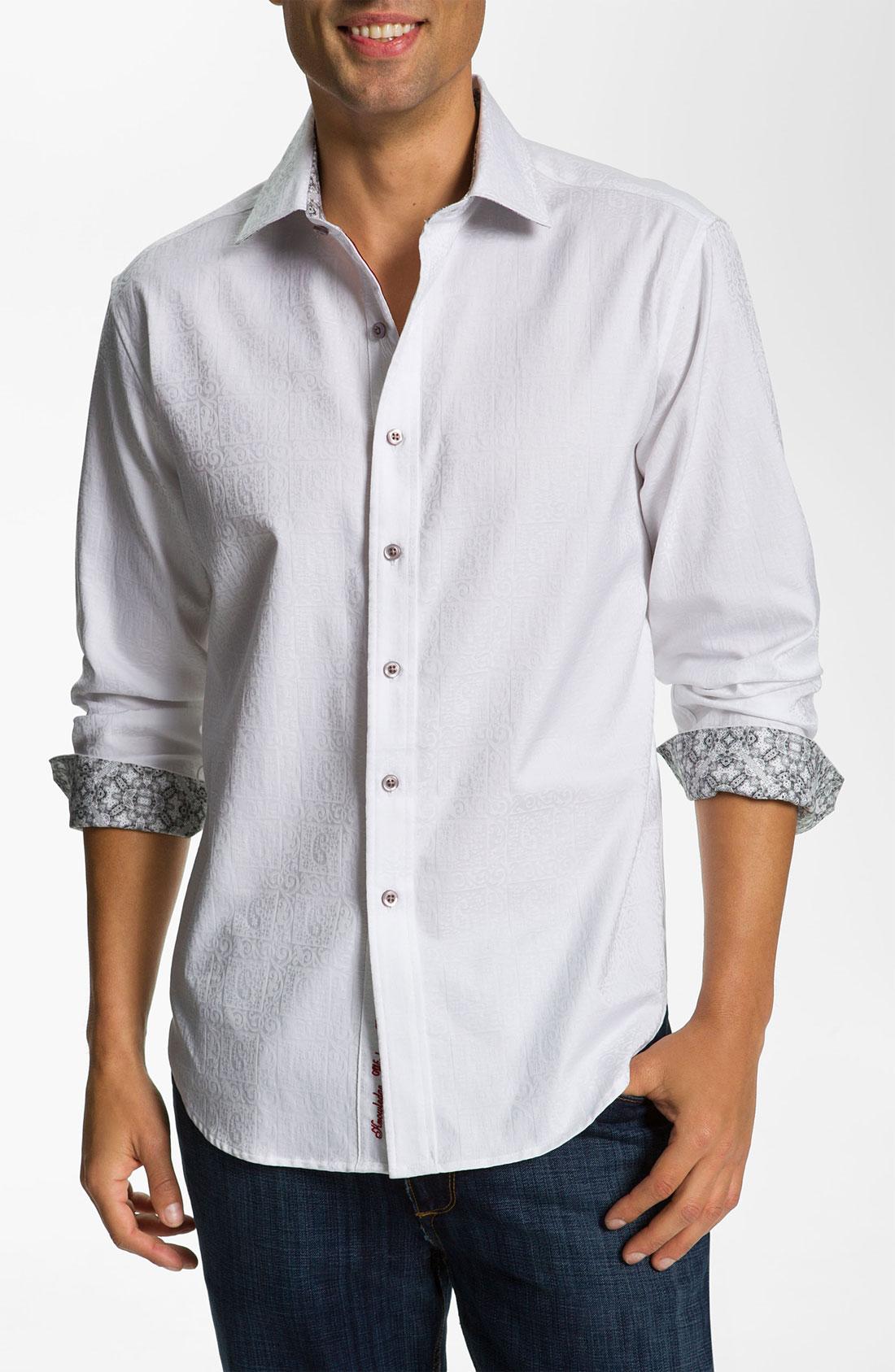 Robert graham windsor sport shirt in white for men lyst for Robert graham sport shirt