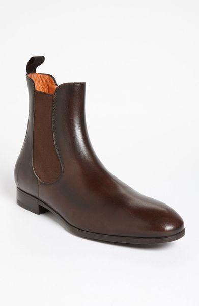santoni shipley chelsea boot in brown for men dark brown lyst. Black Bedroom Furniture Sets. Home Design Ideas