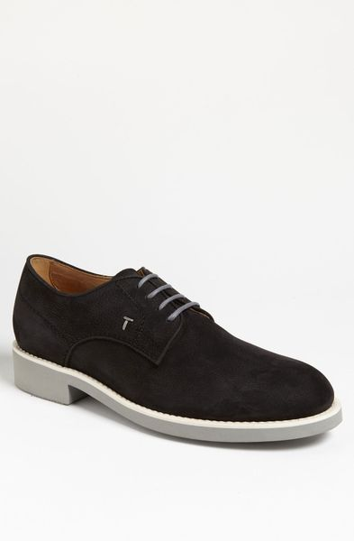 tod s suede buck shoe in black for lyst