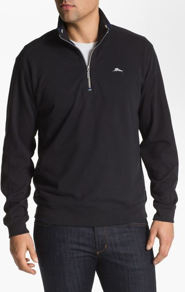 Tommy Bahama Half Zip Sweater in Black for Men