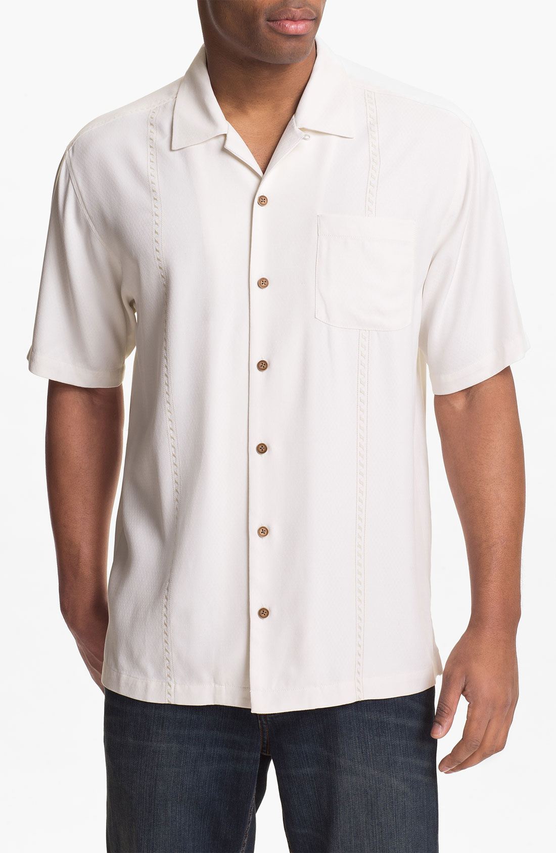 Tommy Bahama Sound Waves Silk Campshirt In White For Men