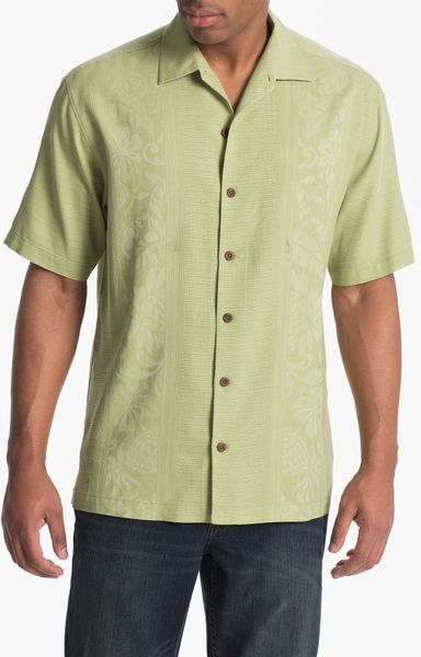 Tommy bahama amazon silk jacquard campshirt in green for for Mens silk shirts amazon