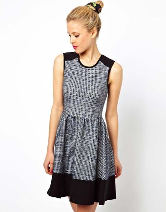 Asos Sleeveless Skater Dress in Colourblock - Lyst