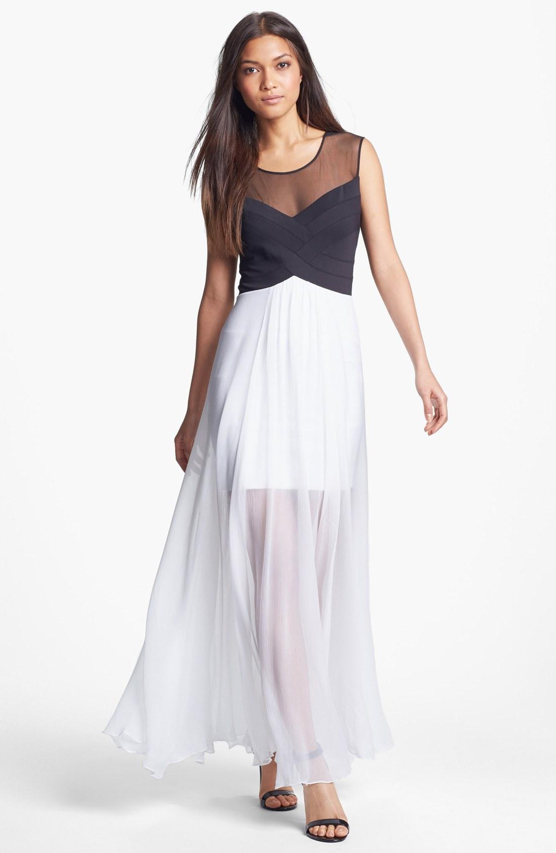 Bcbgmaxazria Long Sheer Overlay Sheath Dress In White