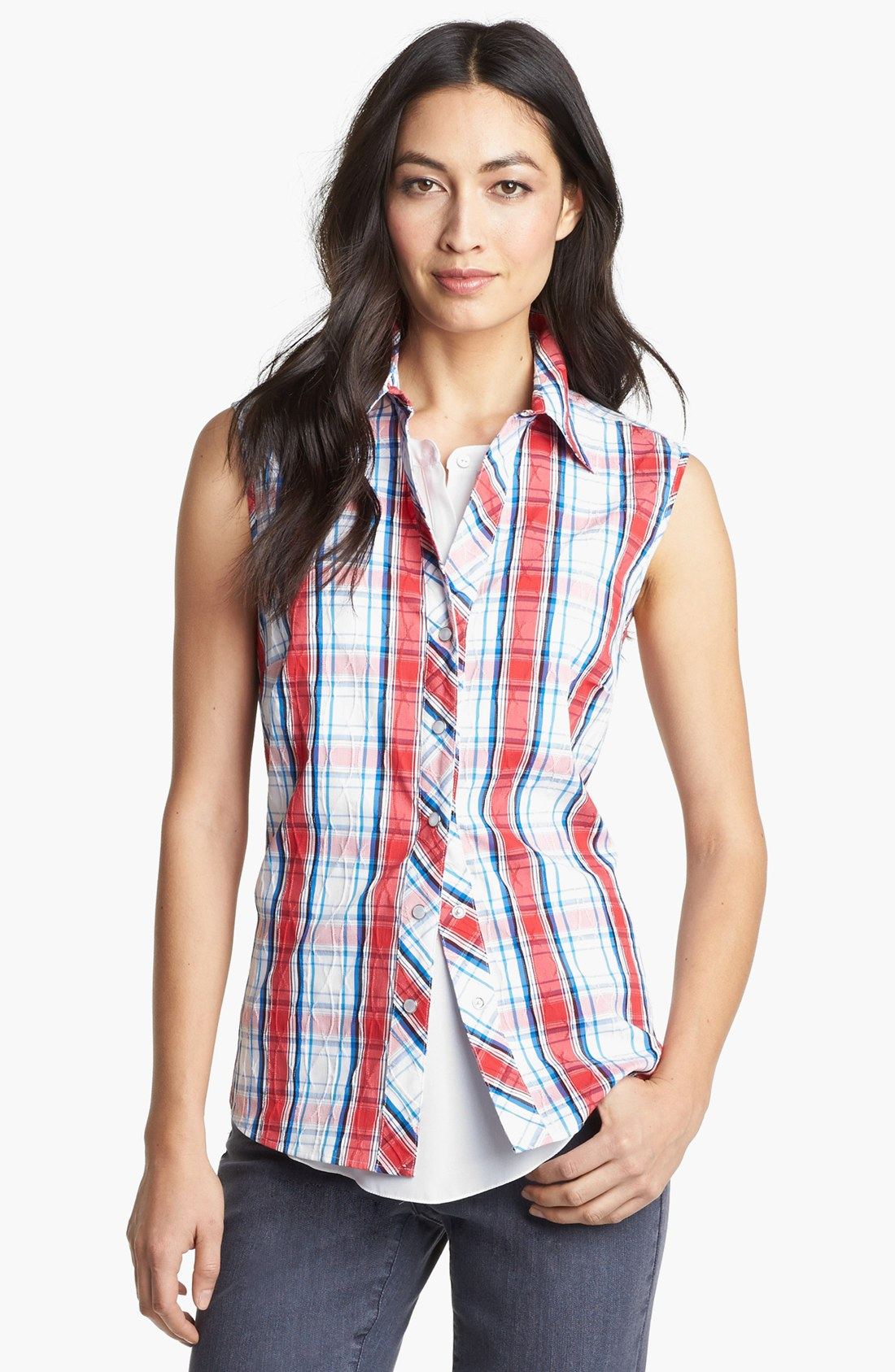 Foxcroft sleeveless textured plaid shirt in white red for Red white and blue plaid shirt