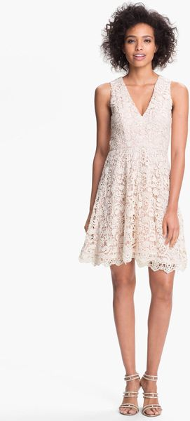 French Connection Loving Crochet Fit Flare Dress In White