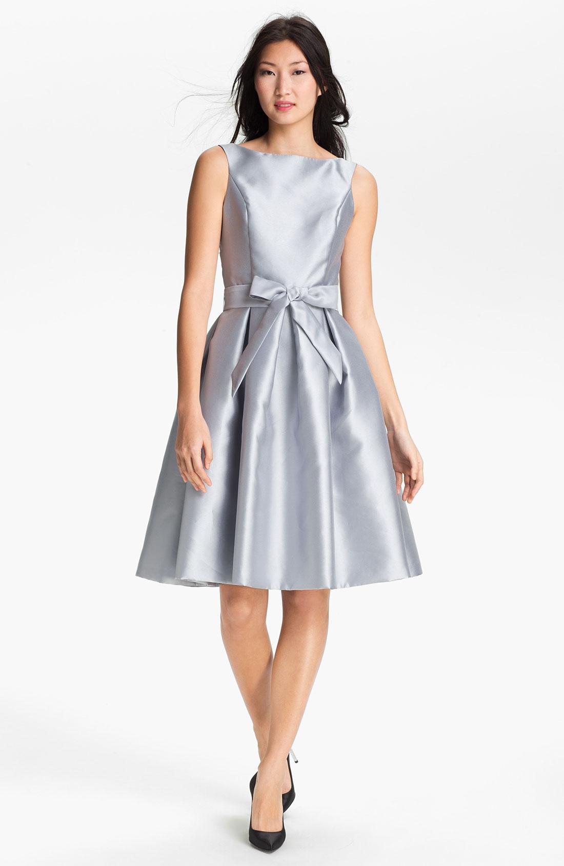 Lyst - Isaac mizrahi new york Satin Fit Flare Dress in Metallic
