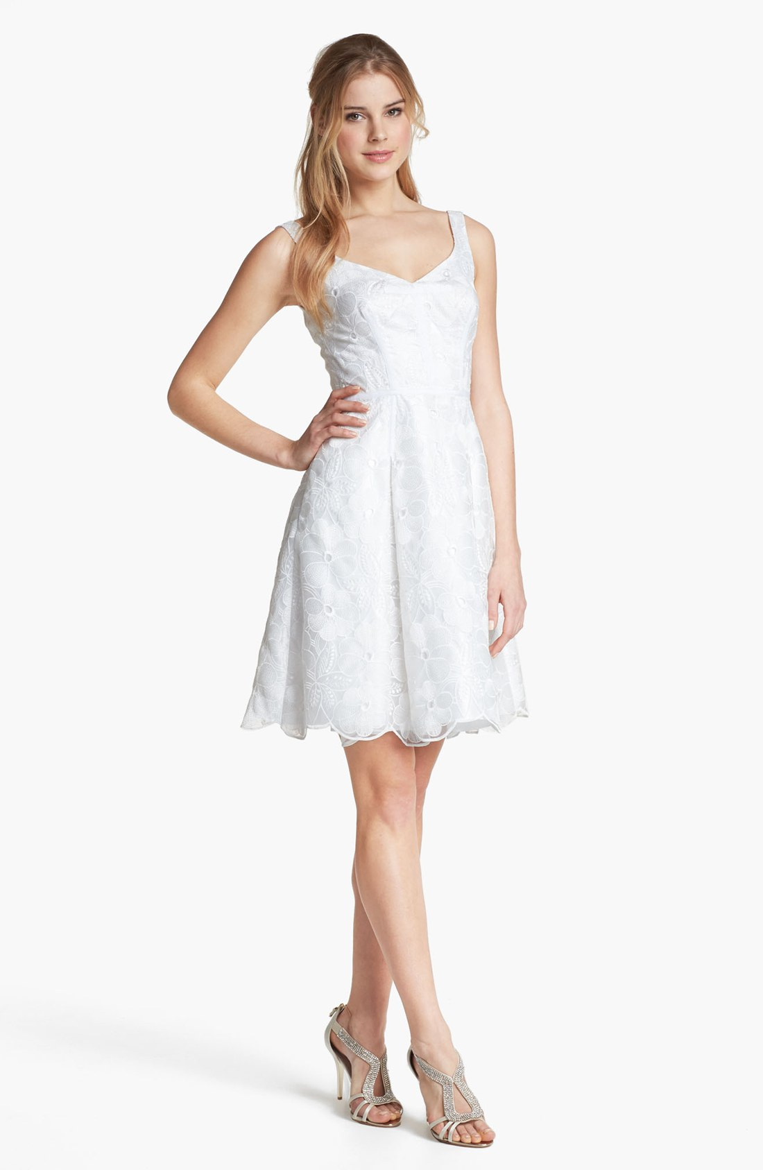 Jill Stuart Embroidered Organza Fit Flare Dress In White