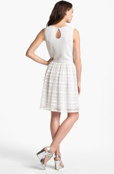 Maggy London Textured Fit Flare Dress In White Lyst
