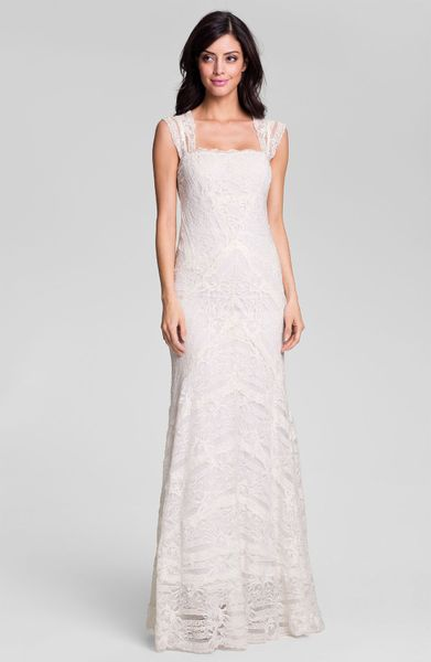 Nicole miller aneka cap sleeve lace gown in white ivory for Nicole miller wedding dresses nordstrom
