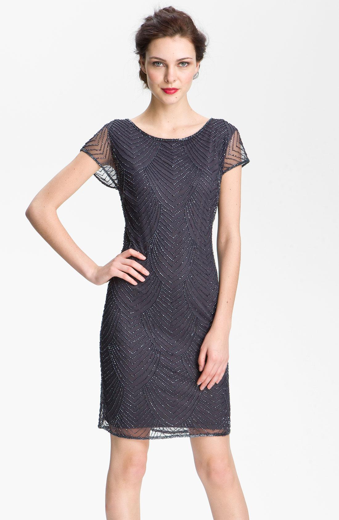 Pisarro Nights Beaded Overlay Silk Chiffon Dress In Gray