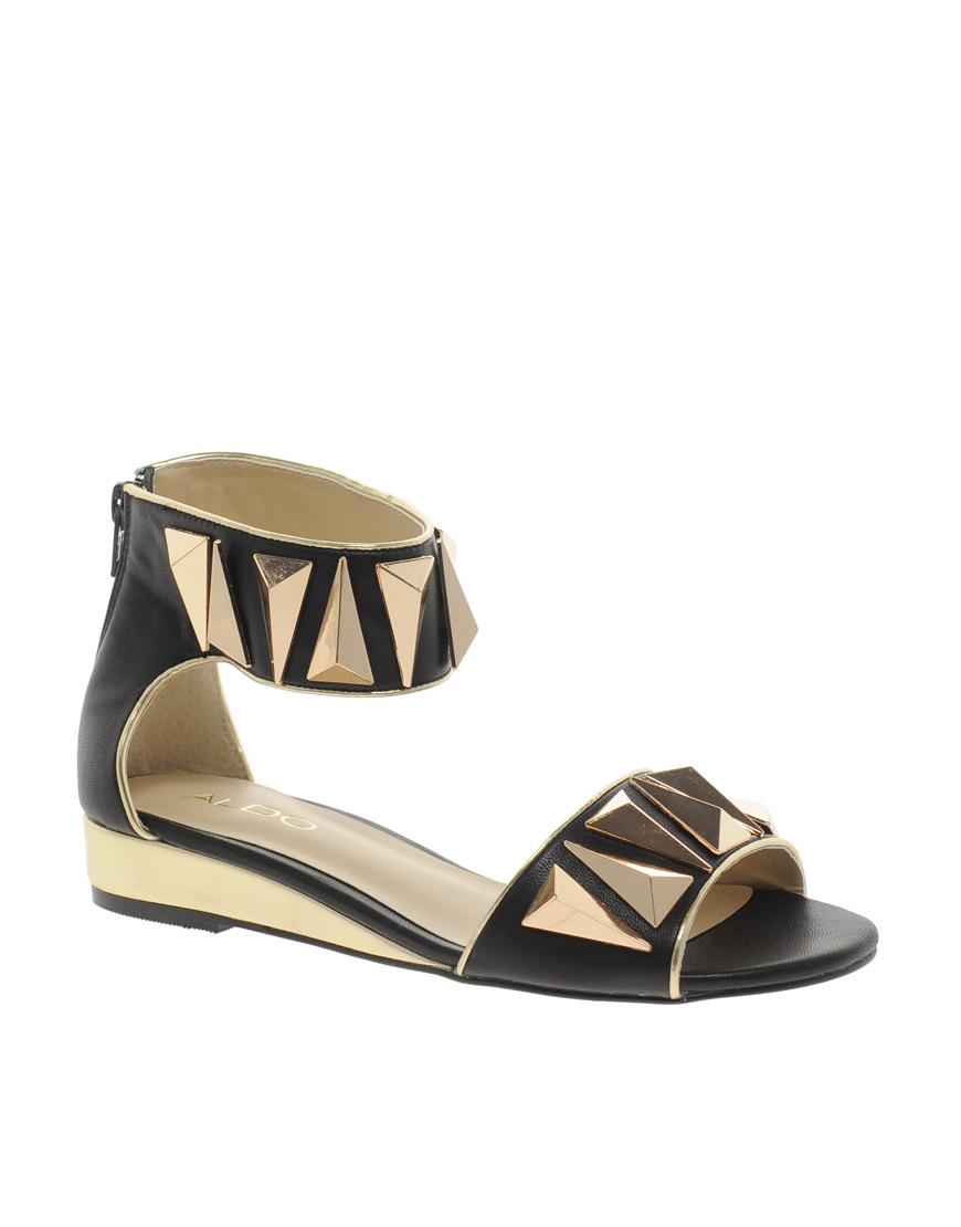 Aldo Kasota Ankle Strap Wedge Sandals in Black | Lyst