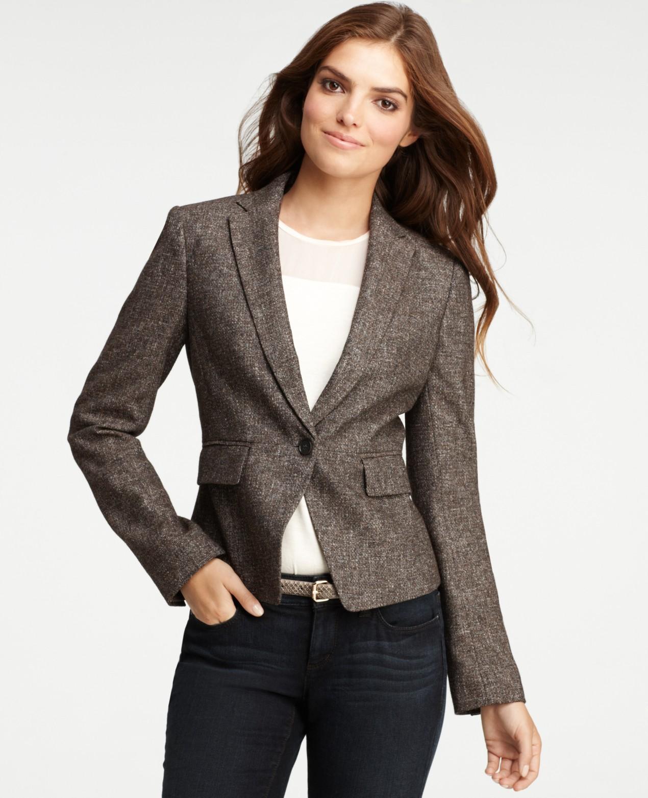 meilleur pas cher e516d b0eab Ann Taylor Brown Petite Moulinee Tweed Femme Jacket