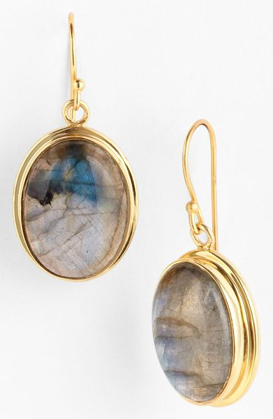Argento Vivo Drop Earrings in Gold (gold/ labradorite)