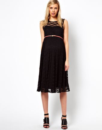 Asos Maternity Lace Midi Dress with Belt - Lyst