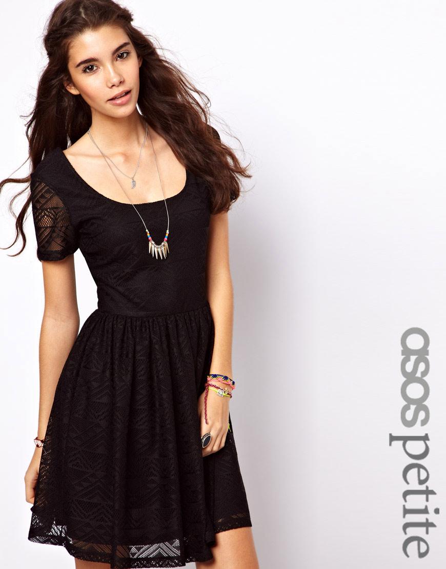 ed778d69fb137 ASOS Skater Dress in Aztec Lace in Black - Lyst