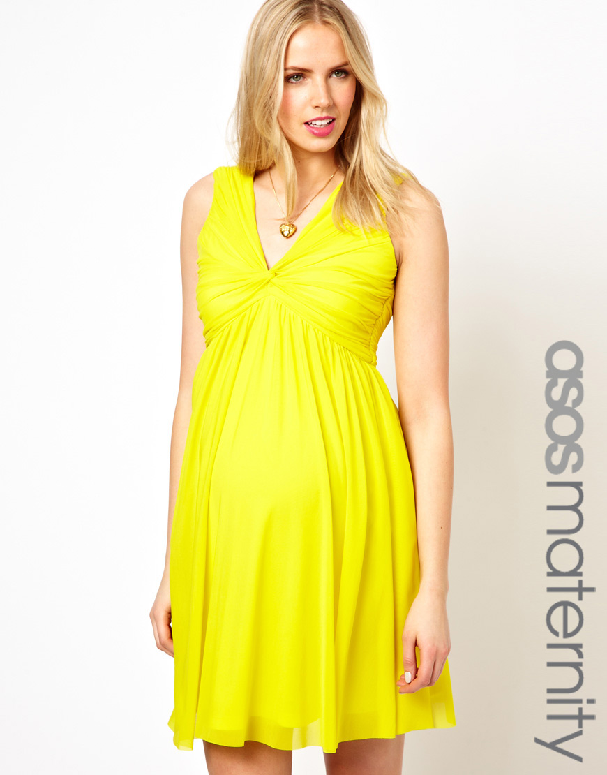 bb6369e9314ca ASOS Maternity Knot Front V Back Dress in Yellow - Lyst