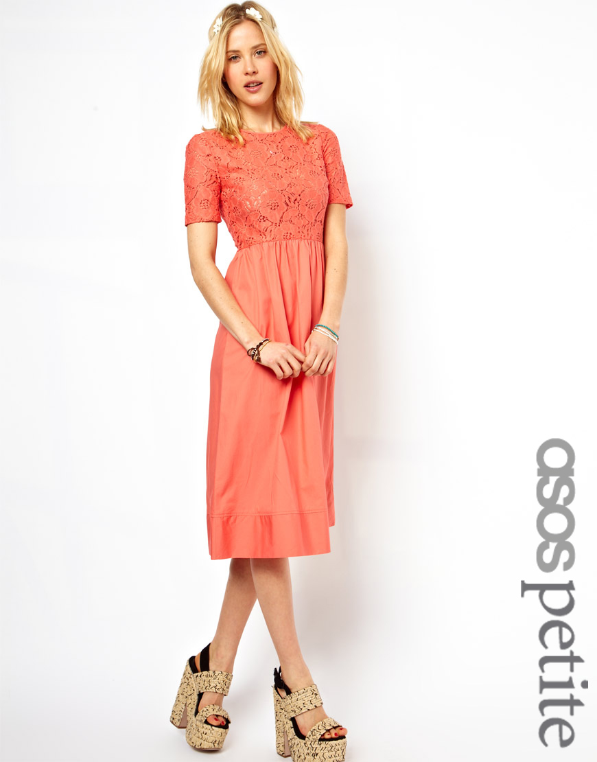 Lyst Asos Petite Exclusive Lace Midi Dress In Pink