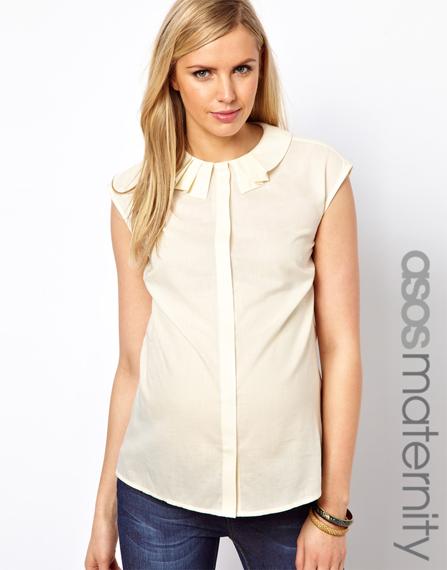 4e9a68f18fda7f Lyst - ASOS Blouse with Origami Collar in Natural