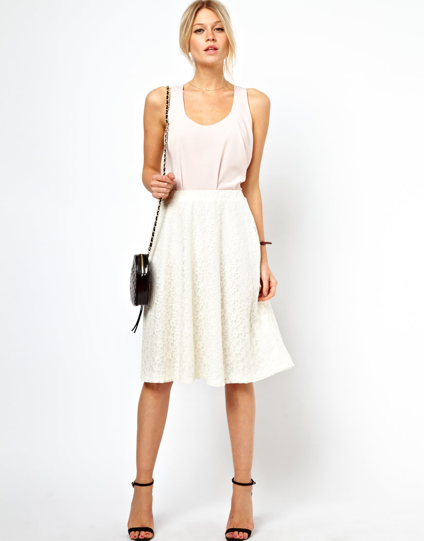 Asos Midi Skirt in Floral Lace in Natural | Lyst