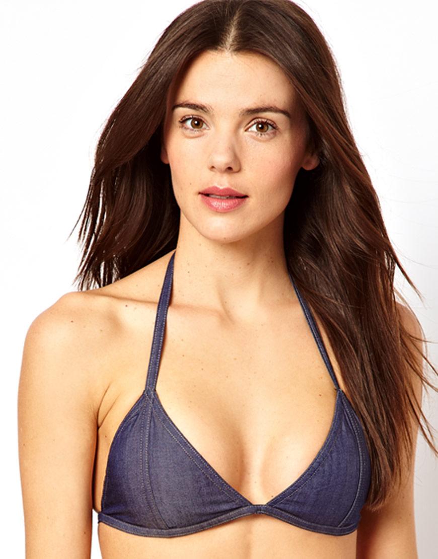 f5d212db217d5 Lyst - ASOS Denim Triangle Bikini Top in Blue