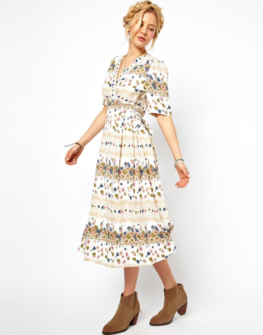 Asos wedding lace back pleated maxi print dress lyst for Asos vintage wedding dresses