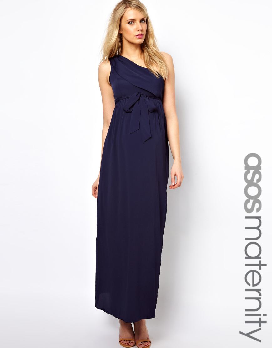 Asos asos maternity exclusive maxi dress with one shoulder in blue gallery ombrellifo Images