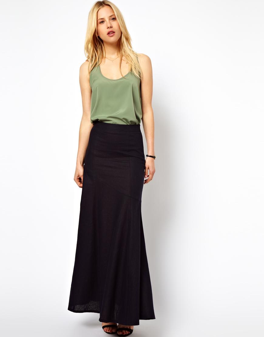 9b2bfb4706e ASOS Maxi Skirt in Linen in Blue - Lyst