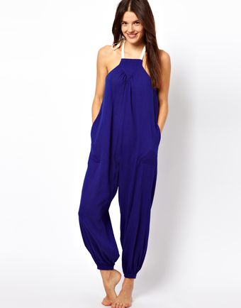 Asos Contrast Halter Cheesecloth Beach Jumpsuit - Lyst