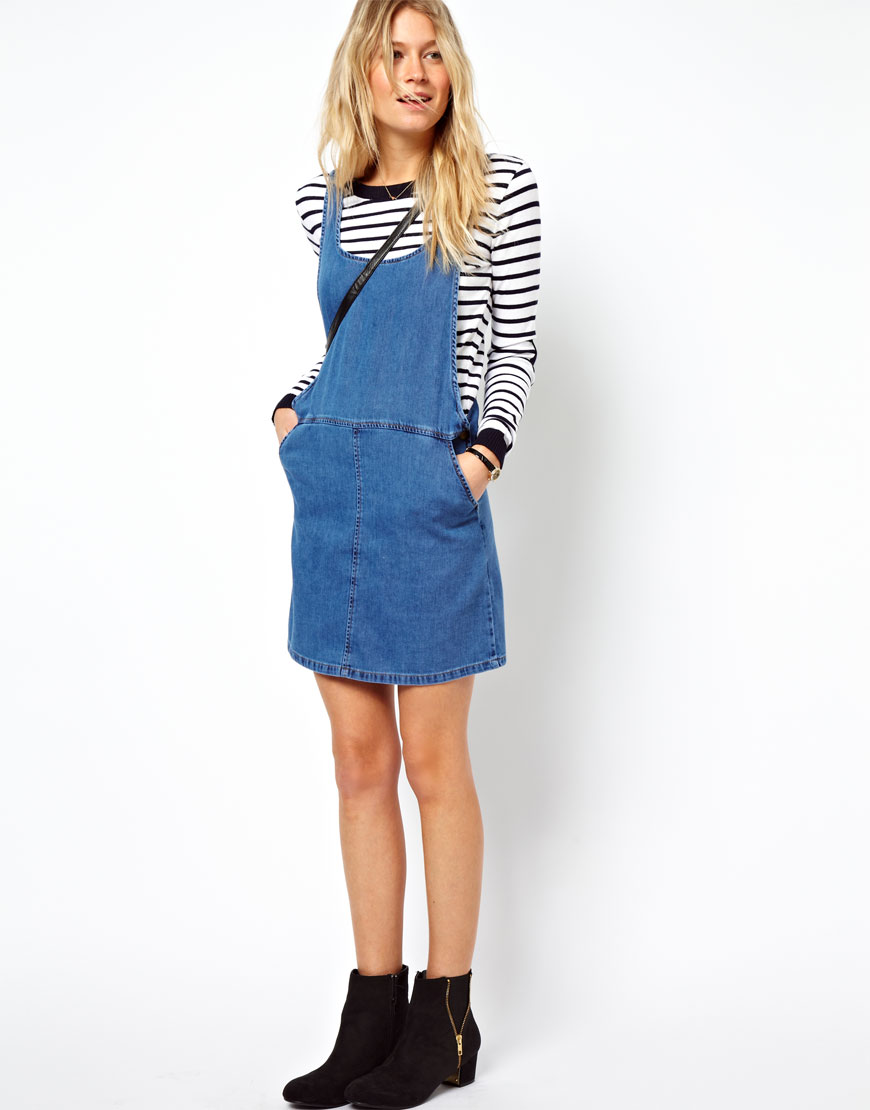 Elegant ASOS Tall  ASOS TALL Denim Pinafore Dress In Mid Wash At ASOS