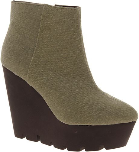 cheap monday monolit canvas wedge boot in green army lyst