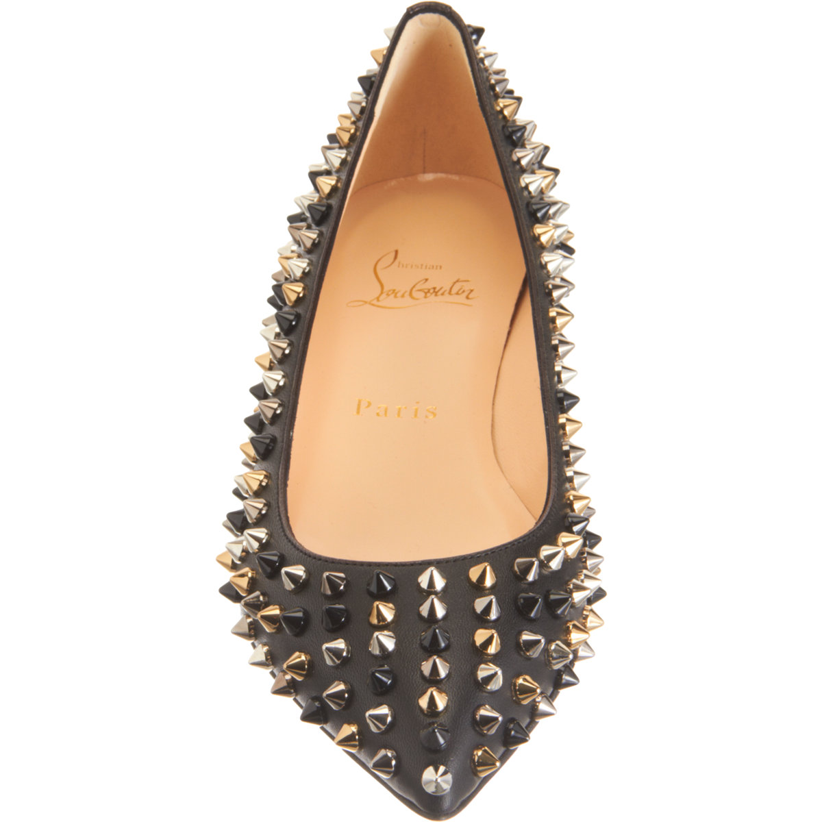 christian louboutin patent leather Pigalle Spikes flats Black ...